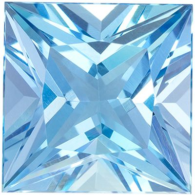 Rare Quality 8.44 carats Fine Rich Blue Aquamarine Princess Genuine Gemstone, 12 mm