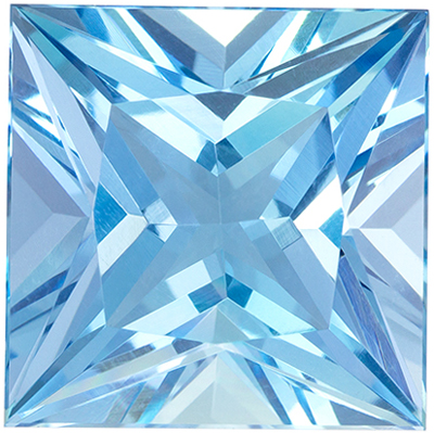 Fine Quality 8.44 carats Blue Aquamarine Princess Genuine Gemstone, 12 mm