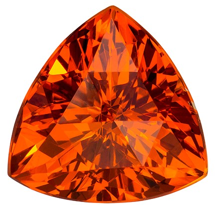 8.5 mm Orange Spessartite Genuine Gemstone in Trillion Cut, Vivid Rich Orange, 2.97 carats