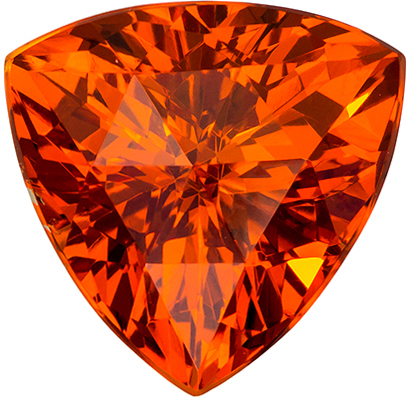 8.5 mm Orange Spessartite Genuine Gemstone Trillion Cut, Vivid Rich Orange, 2.97 carats