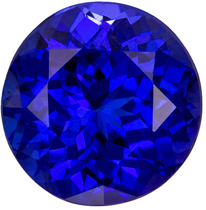 8.5 mm Tanzanite Genuine Gemstone in Round Cut, Vivid Blue Purple, 2.94 carats