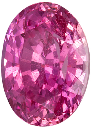8.5 x 6.2 mm Pink Sapphire Genuine Gemstone in Oval Cut, Medium Pure Pink, 2.27 carats