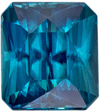 8.6 x 7.7 mm Blue Zircon Genuine Gemstone in Emerald Cut, Rich Teal Blue, 4.52 carats