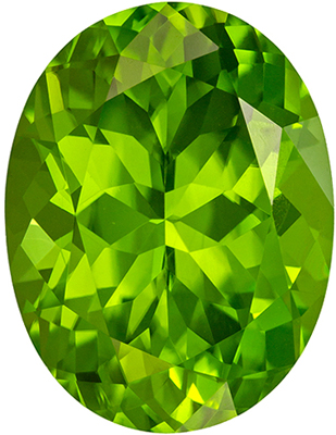 Natural Loose 8.69 carats Green Peridot Oval Genuine Gemstone, 14.7 x 11.3 mm