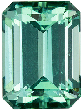 8.7 x 6.4 mm Blue Green Tourmaline Genuine Gemstone in Emerald Cut, Vivid Blue Green, 2.48 carats