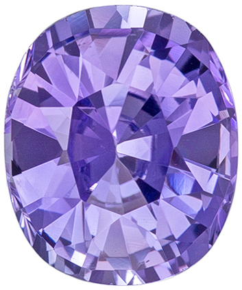 8.7 x 7.2 mm Purple Sapphire Genuine Gemstone in Cushion Cut, Vivid Lavender, 2.45 carats