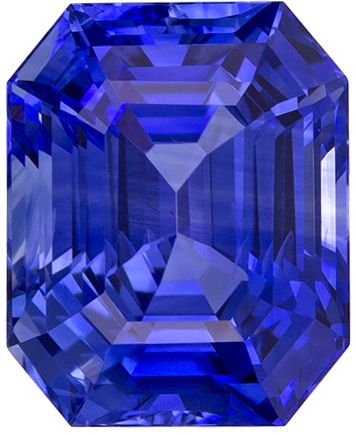 8.8 x 7.1 mm Blue Sapphire Genuine Gemstone in Emerald Cut, Intense Blue, 3.39 carats
