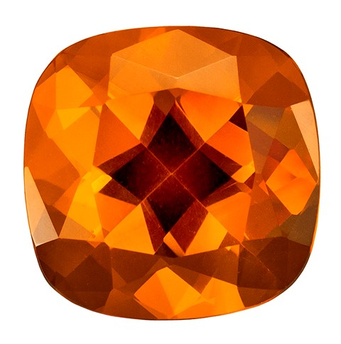 8.9 mm Citrine Genuine Gemstone in Cushion Cut, Vivid Golden Orange, 2.62 carats