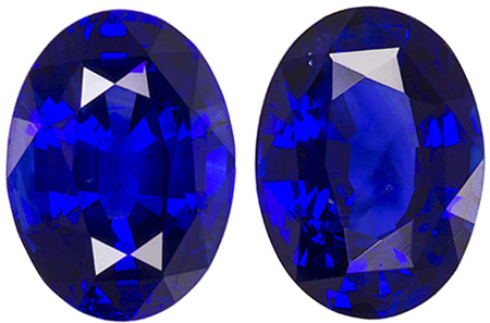 8.9 x 6.5 mm Blue Sapphire Matched Gemstone in Pair in Oval Cut, Vivid Rich Blue, 4.3 carats