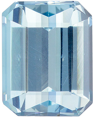 8.9 x 6.9 mm Aquamarine Genuine Gemstone Emerald Cut, Pure Blue, 2.26 carats