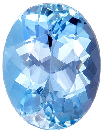 8.9 x 7 mm Aquamarine Genuine Gemstone Oval Cut, Pure Blue, 1.77 carats