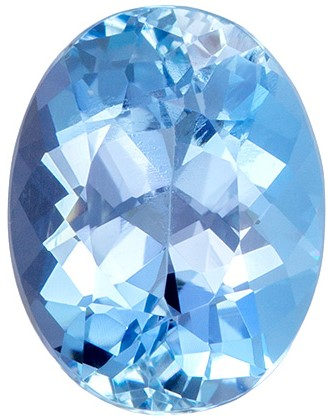 Fine Rich Blue 8.9 x 7 mm Aquamarine Gemstone in Oval Cut,  1.77 carats