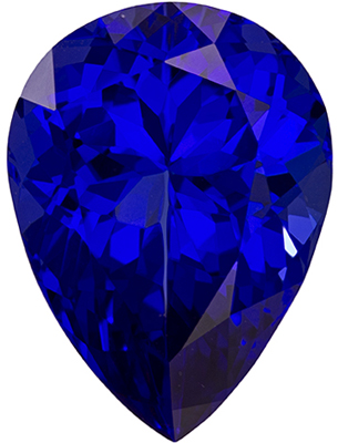 Attractive Pear Shape Blue Purple Tanzanite Loose Gem, 8 carats, Vivid Purple Blue, 15.5 x 11.5 mm