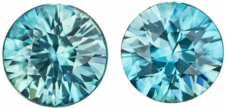 8 mm Blue Zircon 2 Piece Matched Pair in Round Cut, Vivid Rich Blue, 4.87 carats