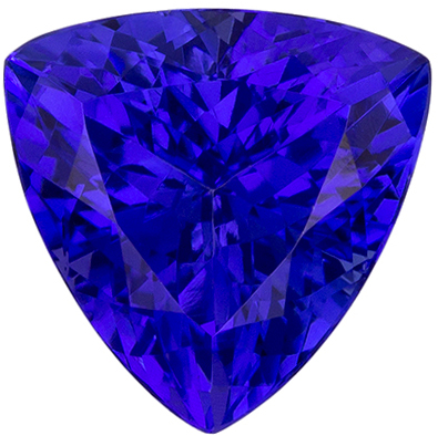 Super Intense Color in 8 mm Tanzanite Genuine Gemstone in Trillion Cut, Vivid Blue Purple, 1.78 carats