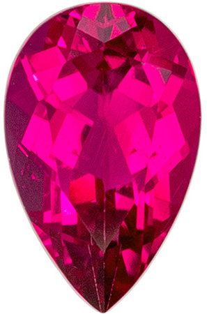 8 x 5.1 mm Rubellite Tourmaline Genuine Gemstone in Pear Cut, Vivid Fuchsia Red, 0.91 carats