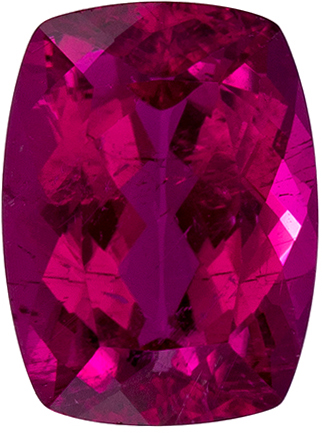 8 x 6 mm Rubellite Tourmaline Genuine Gemstone in Cushion Cut, Fuchsia Red, 1.42 carats