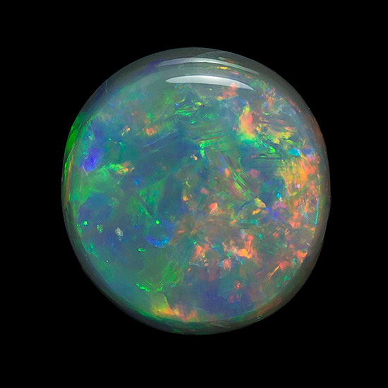 8 x 7.7 mm Black Opal Genuine Gemstone in Round Cut, Fiery Colors on Black Background, 1.72 carats