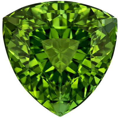 9.1 mm Green Tourmaline Genuine Gemstone in Trillion Cut, Vivid Grass Green, 3.08 carats