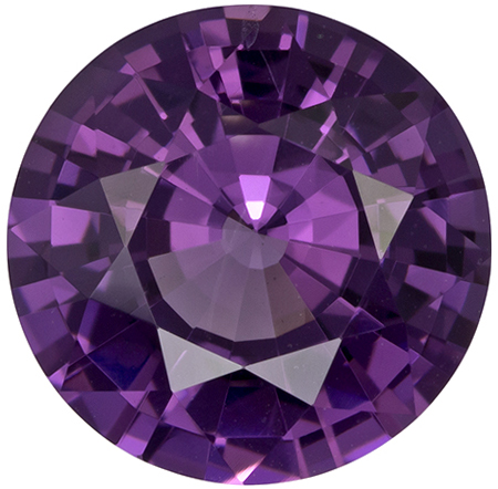 9.1 mm Purple Spinel Genuine Gemstone in Round Cut, Vivid Rich Purple, 2.92 carats