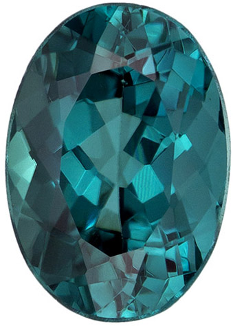 9.1 x 6.4 mm Blue Tourmaline Genuine Gemstone in Oval Cut, Open Teal Blue, 1.9 carats