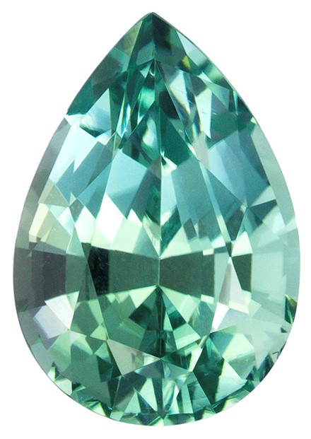 9.1 x 6.4 mm Blue Tourmaline Genuine Gemstone in Pear Cut, Seafoam Blue, 1.72 carats