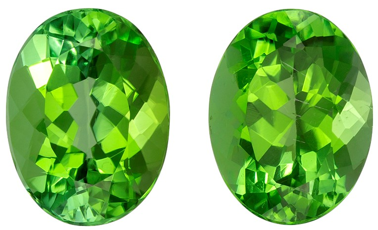 9.1 x 6.9 mm Green Tourmaline 2 Piece Matched Pair in Oval Cut, Minty Lime Green, 3.84 carats