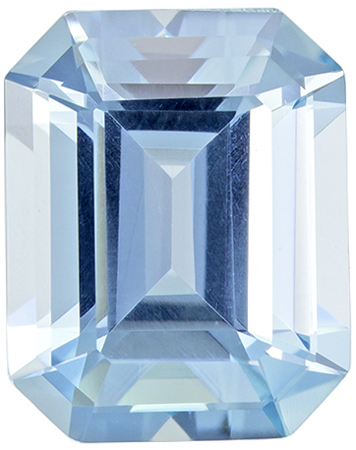 9.1 x 7.2 mm Aquamarine Genuine Gemstone Emerald Cut, Rich Blue, 2.34 carats