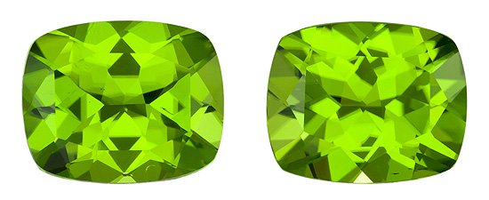 Natural Matched Pair of Peridot Gemstones 9.14 carats, Cushion Cut, 11 x 9  mm