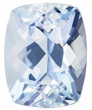 9.3 x 7.3 mm Aquamarine Genuine Gemstone Cushion Cut, Medium Blue, 2.22 carats