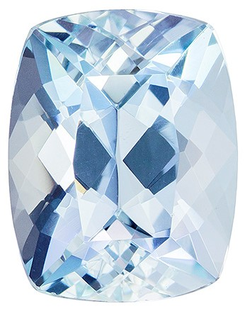 9.3 x 7.3 mm Aquamarine Genuine Gemstone in Cushion Cut, Medium Blue, 2.22 carats