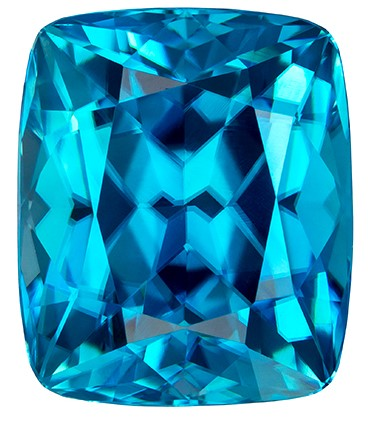 9.3 x 7.9 mm Blue Zircon Genuine Gemstone in Cushion Cut, Vivid Teal Blue, 4.83 carats