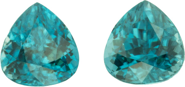 9.33 carats, 9.10 x 8.80 mm Pair of Genuine Zircon Gemstones in Pear Cut