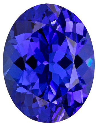 9.4 x 7.3 mm Tanzanite Genuine Gemstone in Oval Cut, Vivid Blue Purple, 2.21 carats