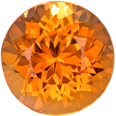 9.4 x 9.4 mm Precious Topaz Genuine Gemstone in Round Cut, Peach Gold, 4.16 carats