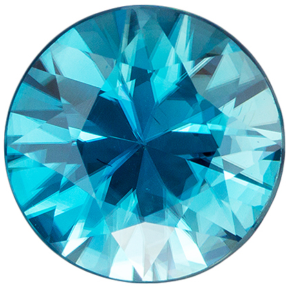 9.5 mm Blue Zircon Genuine Gemstone in Round Cut, Rich Teal Blue, 4 carats