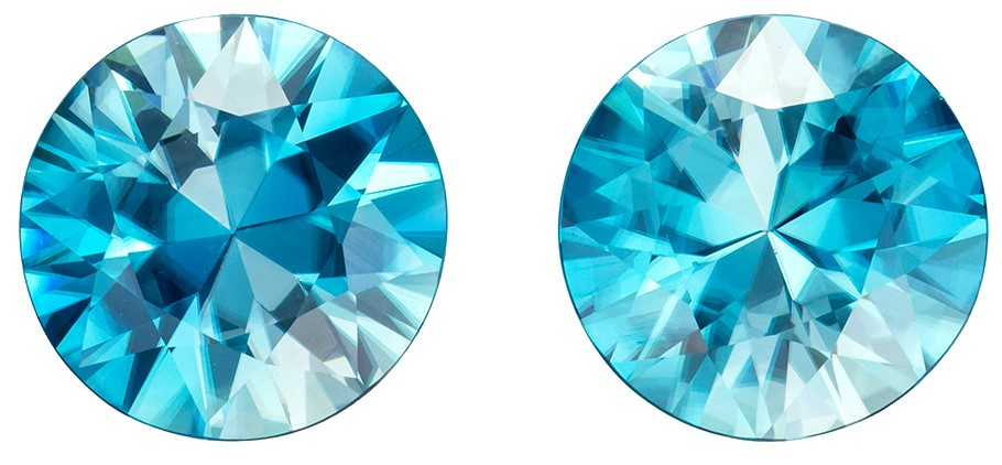 9.5 mm Blue Zircon Matched Gemstone in Pair in Round Cut, Vivid Teal Blue, 8.18 carats