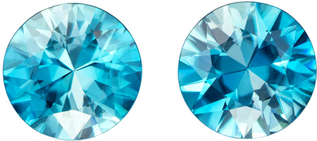 9.5 mm Blue Zircon Matched Gemstone Pair in Round Cut, Vivid Teal Blue, 8.18 carats
