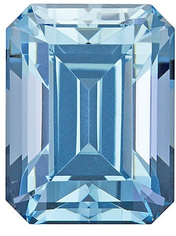 9.5 x 7.3 mm Aquamarine Genuine Gemstone in Emerald Cut, Pure Blue, 3.11 carats