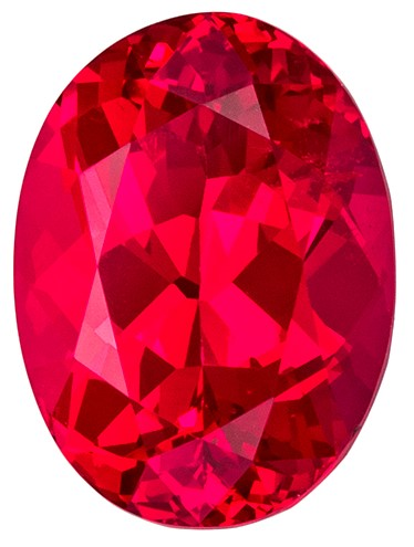 Unique Gem 9.5 x 7 mm Spinel Genuine Gemstone in Oval Cut, Fiery Red, 2.67 carats