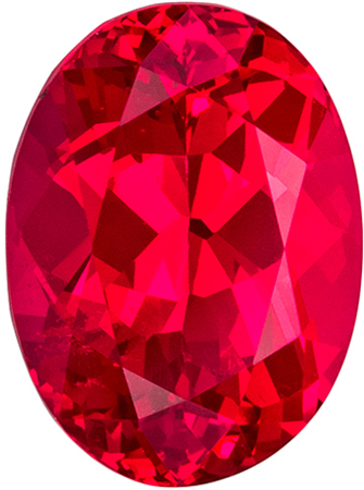 9.5 x 7 mm Red Spinel Genuine Gemstone Oval Cut, Fiery Red, 2.67 carats