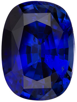 9.6 x 7.1 mm Blue Sapphire Genuine Gemstone in Cushion Cut, Vivid Blue, 3.46 carats