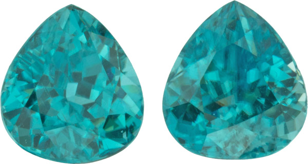 9.65 carats, 9.90 x 8.80 mm Pair of Genuine Zircon Gemstones in Pear Cut - SOLD