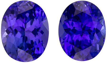9.7 x 7.5 mm Tanzanite 2 Piece Matched Pair in Oval Cut, Rich Blue Purple, 5.41 carats