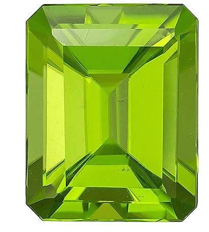 9.7 x 7.7 mm Peridot Genuine Gemstone in Emerald Cut, Medium Lime Green, 3.33 carats
