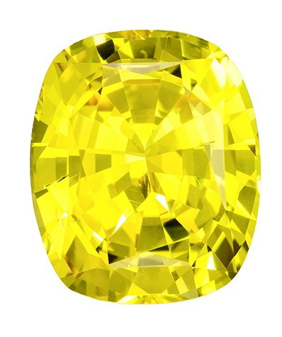 9.7 x 8.1 mm Yellow Chrysoberyl Genuine Gemstone in Cushion Cut, Vivid Lemon Yellow, 3.58 carats