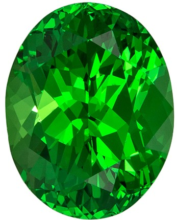 9.8 x 7.6 mm Tsavorite Genuine Gemstone in Oval Cut, Medium Grass Green, 3.09 carats