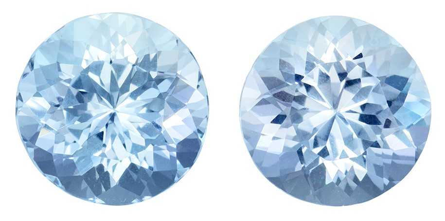 9 mm Aquamarine 2 Piece Matched Pair in Round Cut, Pure Blue, 4.75 carats