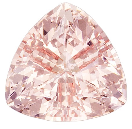 9 mm Morganite Genuine Gemstone in Trillion Cut, Rich Peach Pink, 2.43 carats