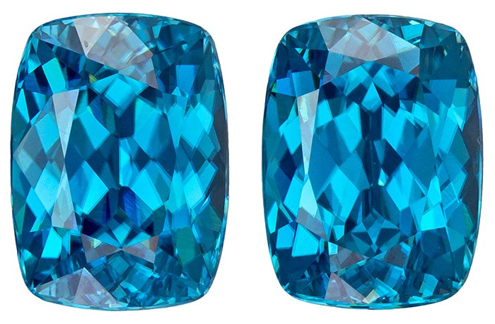 9 x 6.7 mm Blue Zircon Well Matched Gem Pair in Cushion Cut, Vivid Teal Blue, 7.42 carats